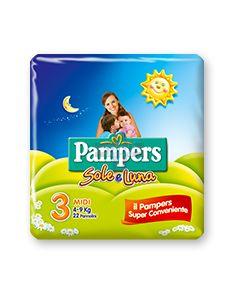 PANNOLINO PER BAMBINO PAMPERS SOLE & LUNA MIDI 20 PEZZI